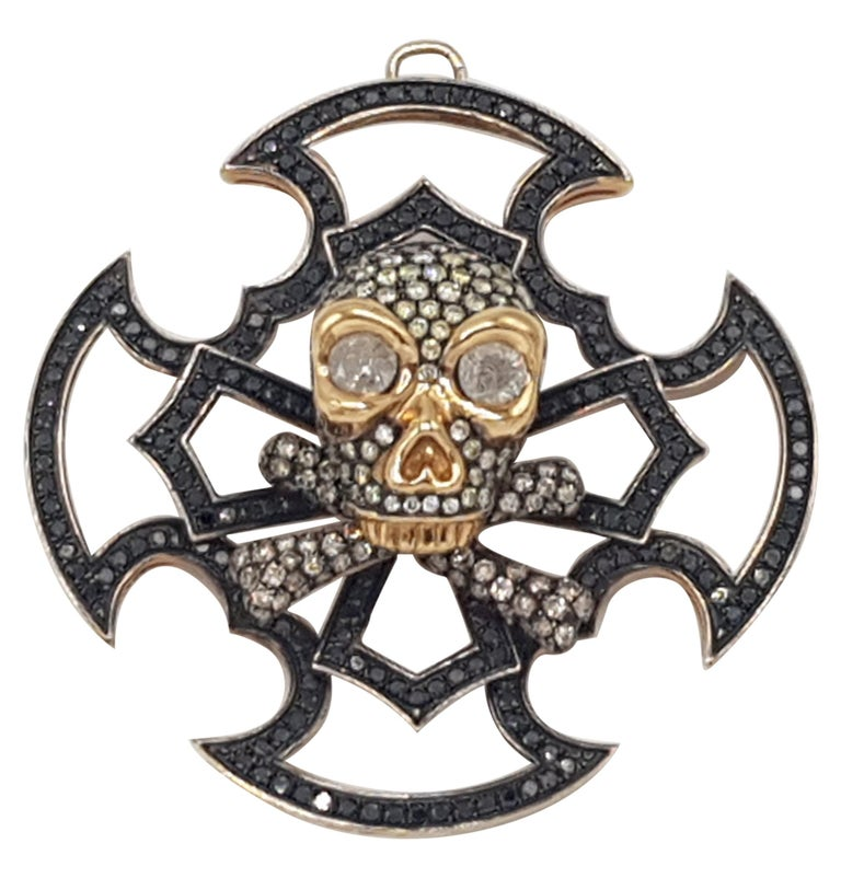 Skull Pendant Yellow and Black Gold with Diamonds For Sale