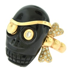 Skull Skeleton Round Brilliant Diamond and Onyx Cocktail Ring