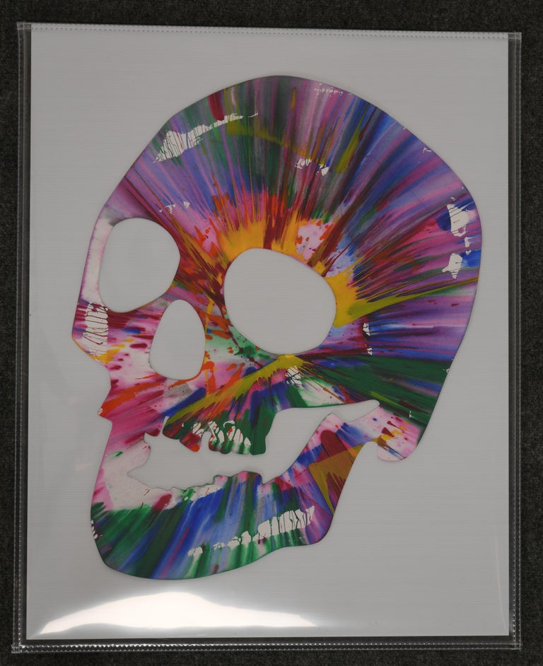 An amazing Damien Hirst skull spin painting. Acrylic on paper, 2009. Stamped signature and inscription to verso