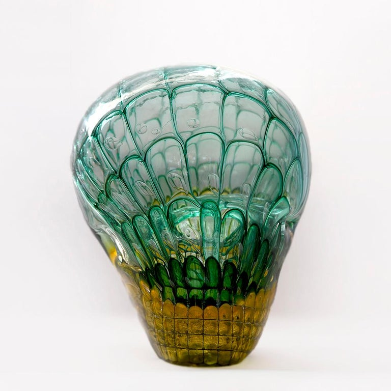 Green and yellow honeycomb object by the well-known glass artist Jörg F. Zimmermann from Uhingen.
