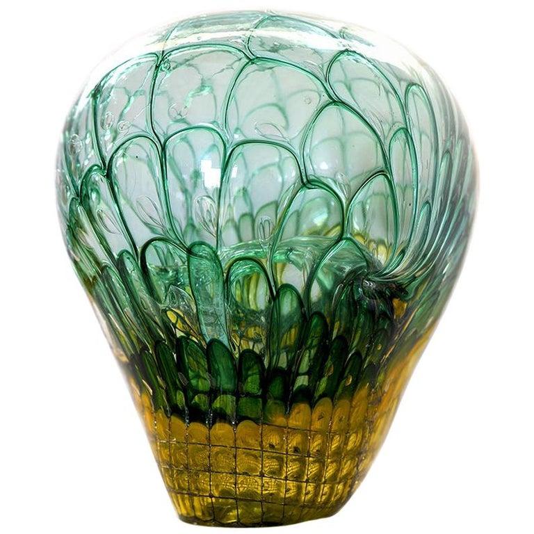 'Skull' Studio Glass Object by German Artist Joerg F. Zimmermann For Sale