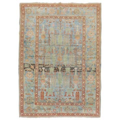 Sky Blue Antique Malayer Weeping Willow Tree 20th Century Rug