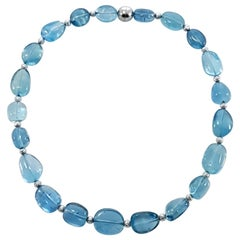Sky Blue Aquamarine Baroque Beaded Necklace with 18 Carat White Gold