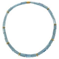 Sky Blue Aquamarine Crystal Beaded Necklace with 18 Carat Mat Yellow Gold