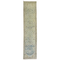 Sky Blue Chartreuse Persian Malayer Runner, Early 20th Century