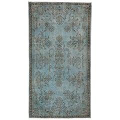 4x7.3 Ft Sky Blue Color Over-Dyed Vintage Rug, French Garden Design Carpet