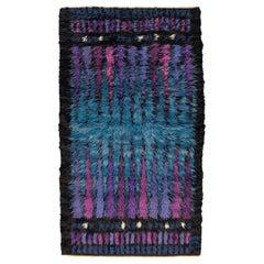 Sky-Blue Field Vintage Rya Wool Swedish Rug, 1950-1970