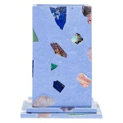 Sky Blue Gemstone Terrazzo Pillar Vase