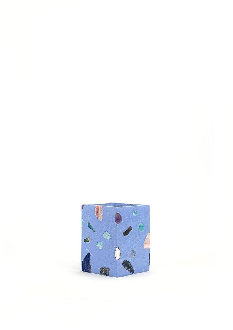 Post-Modern Sky Blue Gemstone Terrazzo Tall Vase For Sale