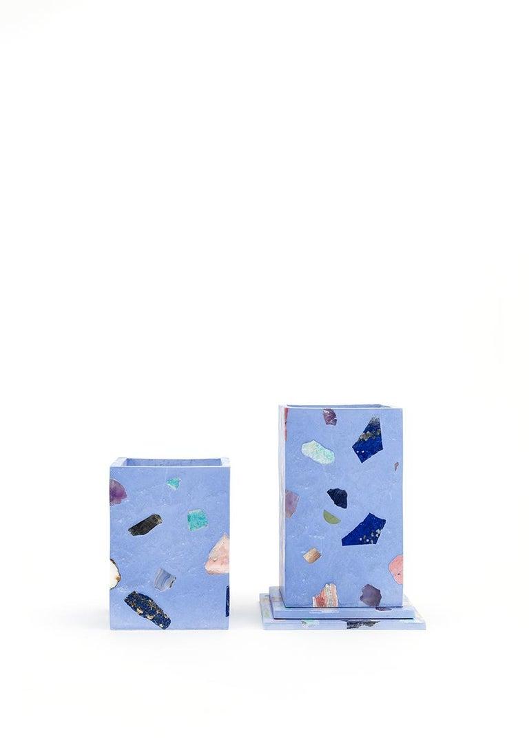 American Sky Blue Gemstone Terrazzo Tall Vase For Sale