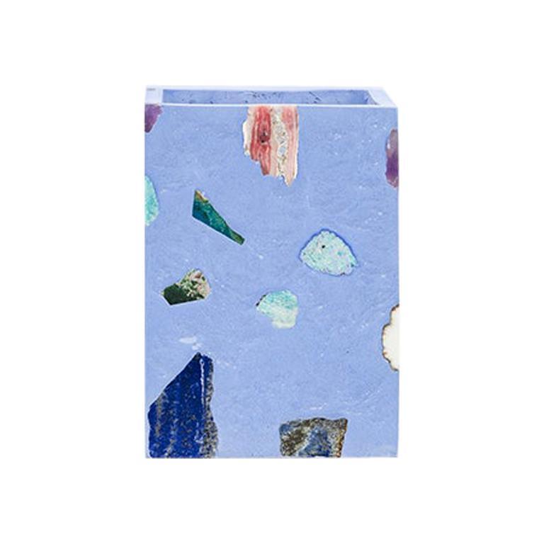 Sky Blue Gemstone Terrazzo Tall Vase For Sale