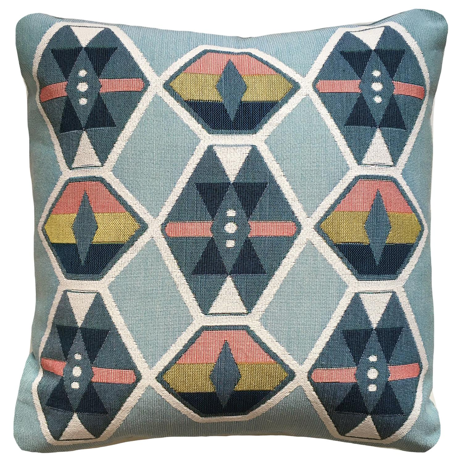 Cloud Blue Geo Upholstered Pillow with Linen Backing