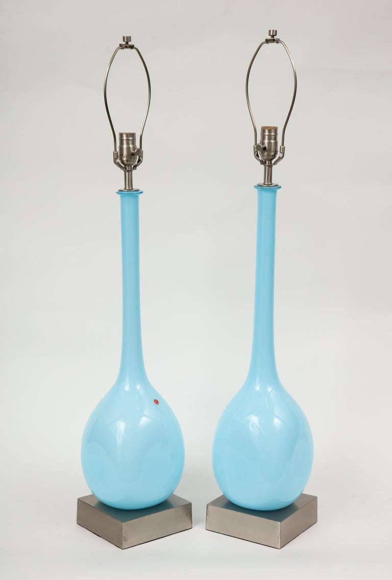 Pair of midcentury Murano glass lamps on satin nickel square platform bases. Rewired for use in the USA, 100W max.