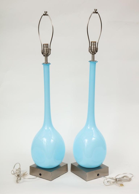 Italian Sky Blue Murano Glass Lamps For Sale