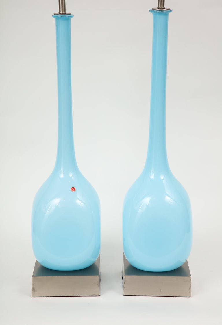 Brushed Sky Blue Murano Glass Lamps For Sale