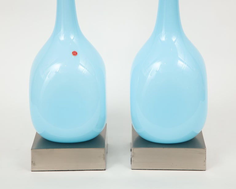Sky Blue Murano Glass Lamps In Excellent Condition For Sale In New York, NY