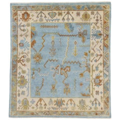 New Contemporary Sky Blue Oushak Style Rug with Modern Tribal Bohemian Design