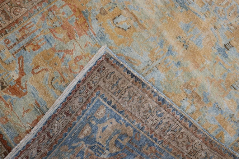 Baroque Sky Blue Peach Accent Persian Throw Rug For Sale