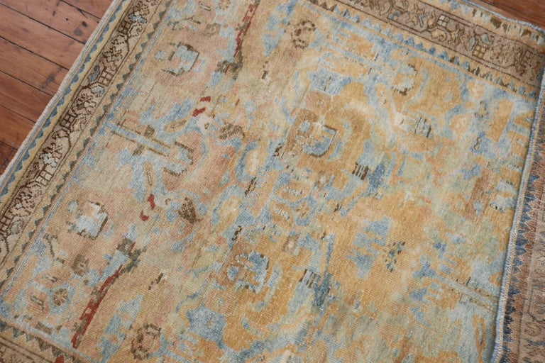 Hand-Woven Sky Blue Peach Accent Persian Throw Rug For Sale