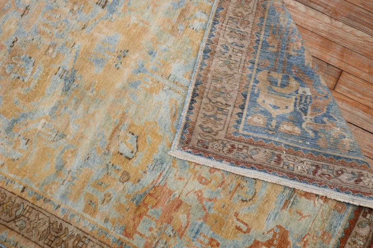 20th Century Sky Blue Peach Accent Persian Throw Rug For Sale