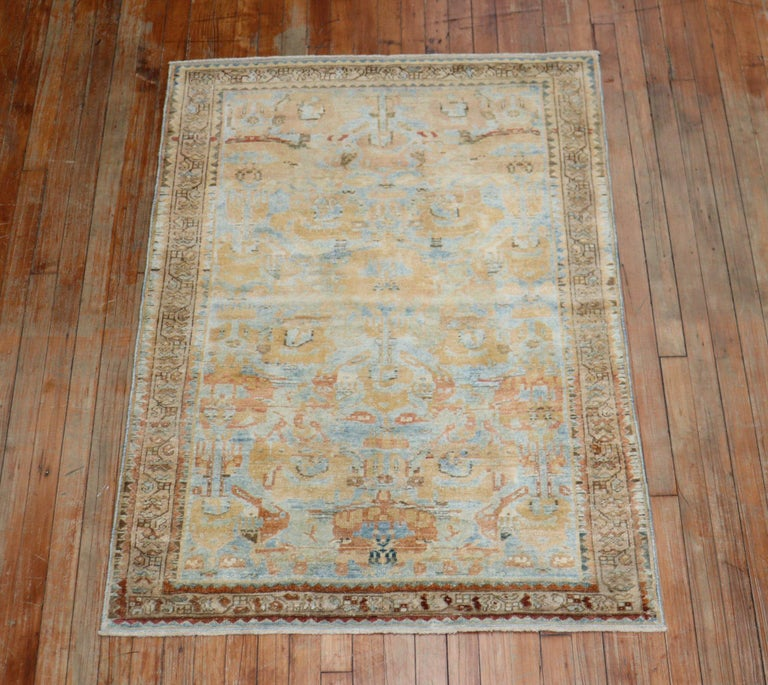 Wool Sky Blue Peach Accent Persian Throw Rug For Sale