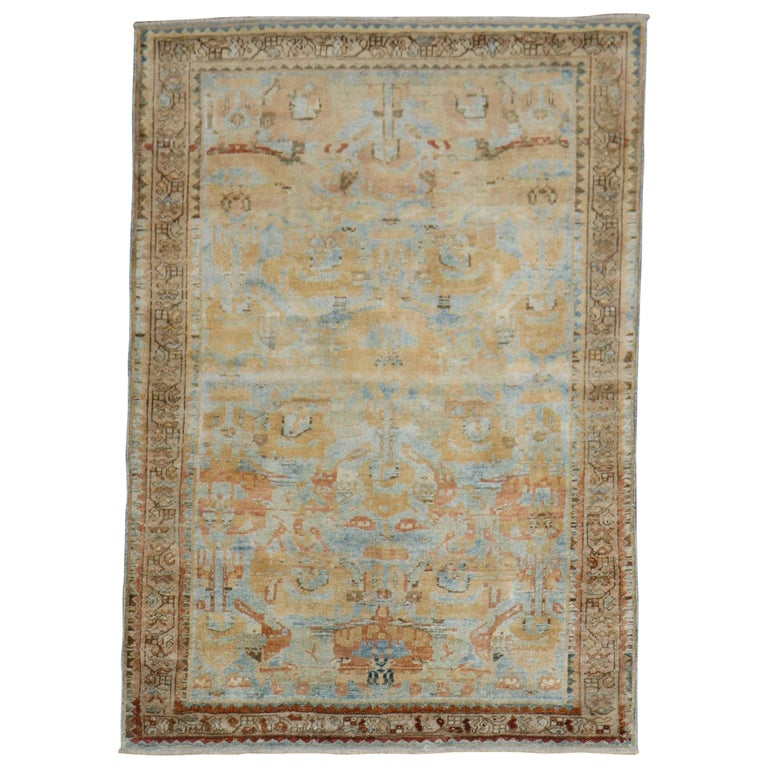 Sky Blue Peach Accent Persian Throw Rug For Sale