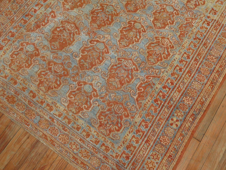 Hand-Woven Sky Blue Terracotta Tribal Square Persian Rug For Sale