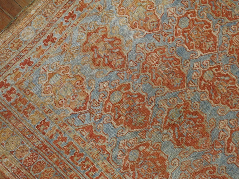 20th Century Sky Blue Terracotta Tribal Square Persian Rug For Sale