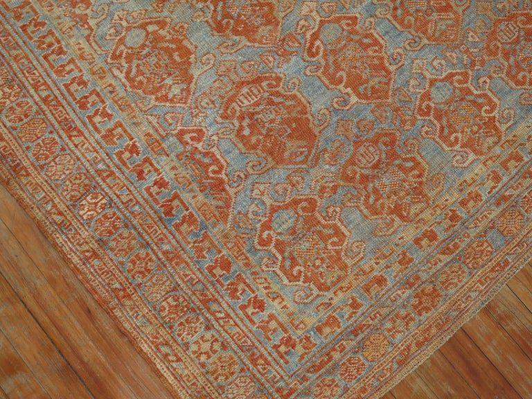 Wool Sky Blue Terracotta Tribal Square Persian Rug For Sale