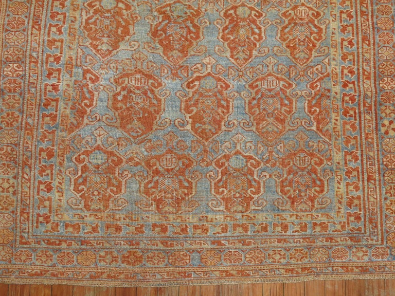 Sky Blue Terracotta Tribal Square Persian Rug For Sale 1