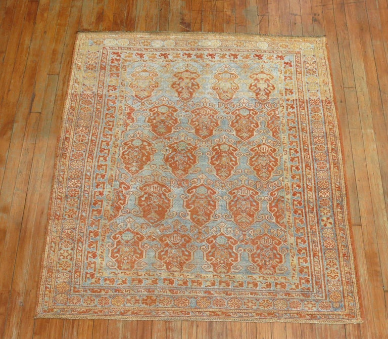 Sky Blue Terracotta Tribal Square Persian Rug For Sale 2