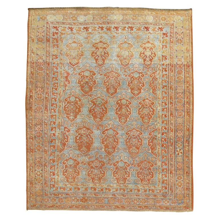 Sky Blue Terracotta Tribal Square Persian Rug For Sale