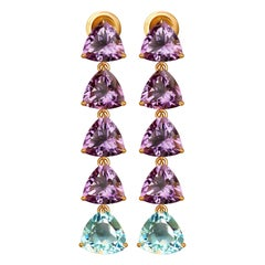 Sky Blue Topaz and Amethyst 14 Karat Yellow Gold Earrings