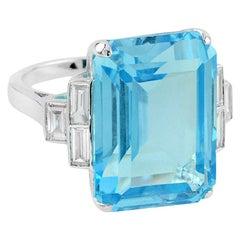 Sky Blue Topaz Diamond Cocktail Ring