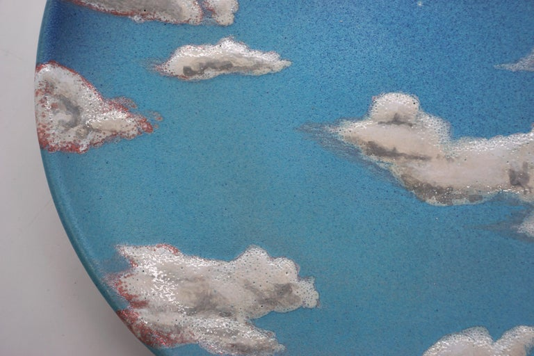Sky Ceramic Plate Hand Painted Glazed Earthenware Italian, Contemporary In New Condition For Sale In London, GB