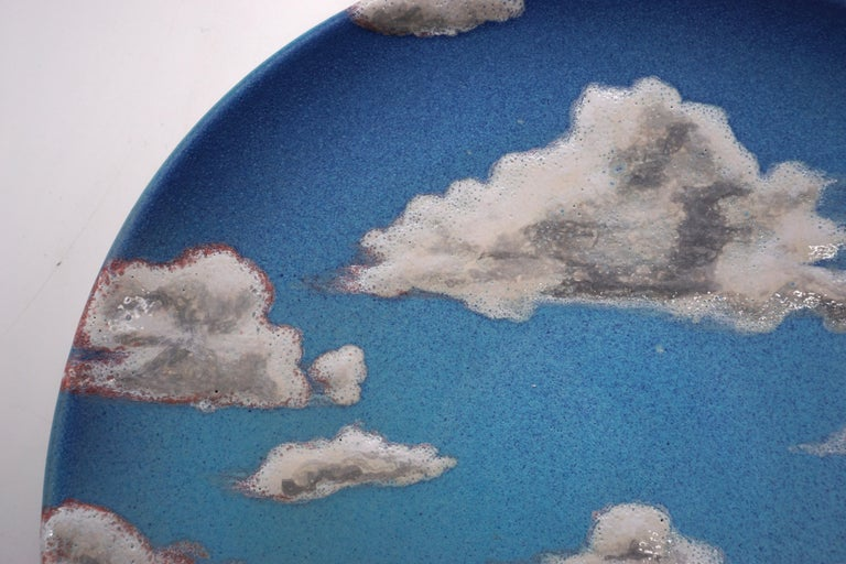 Sky Ceramic Plate Hand Painted Glazed Earthenware Italian, Contemporary For Sale 1