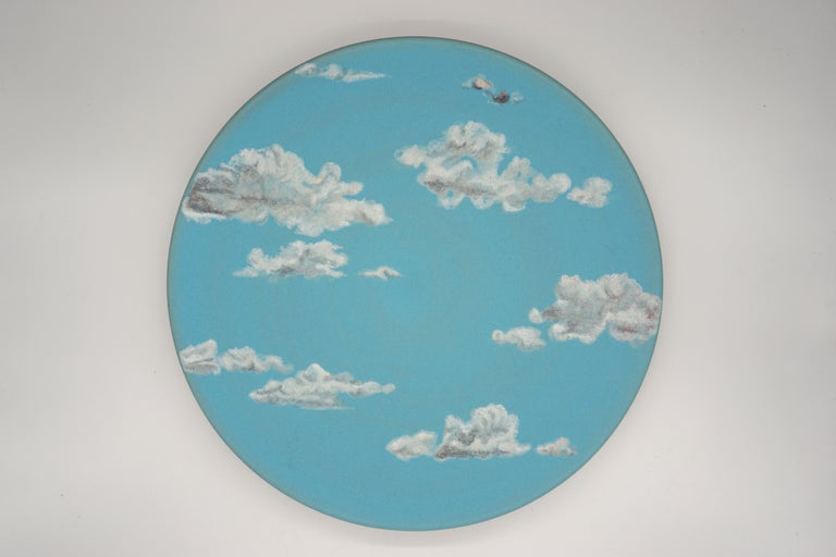 Sky Ceramic Plate Hand Painted Glazed Earthenware Italian, Contemporary For Sale 2