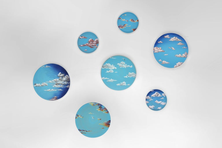 Sky Ceramic Plate Hand Painted Glazed Earthenware Italian, Contemporary For Sale 3