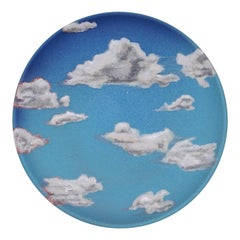 Sky Ceramic Plate Hand Painted Glazed Earthenware Italian, Contemporary