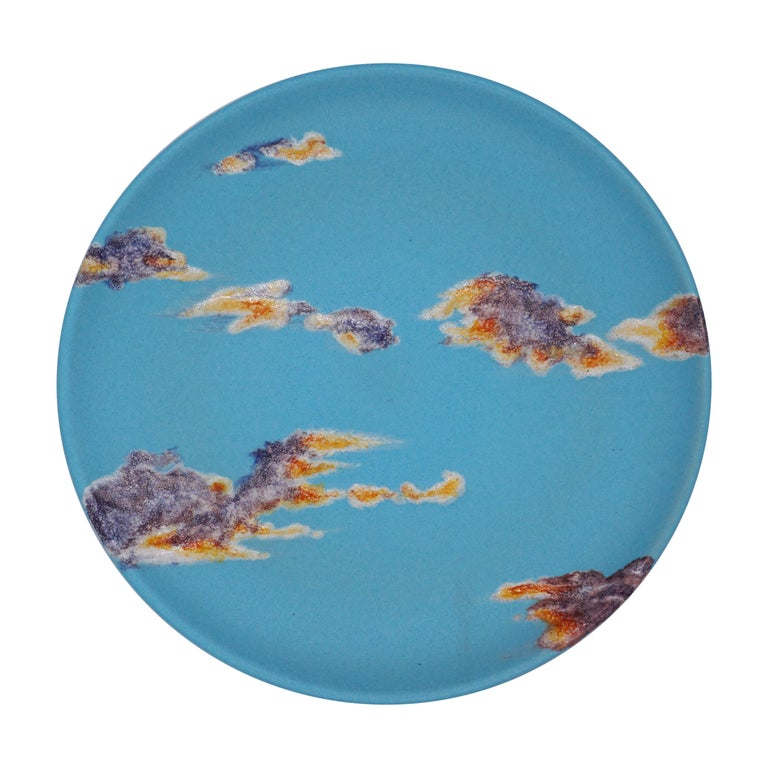 Sky Ceramic Plate Hand Painted Glazed Earthenware Italian, Contemporary For Sale