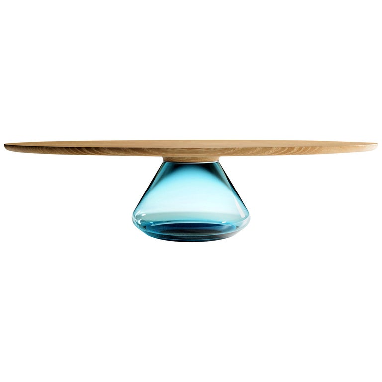 """Sky Eclipse"" Contemporary Coffee Table Feat Glass & Oiled Oak by Grzegorz Majka For Sale"