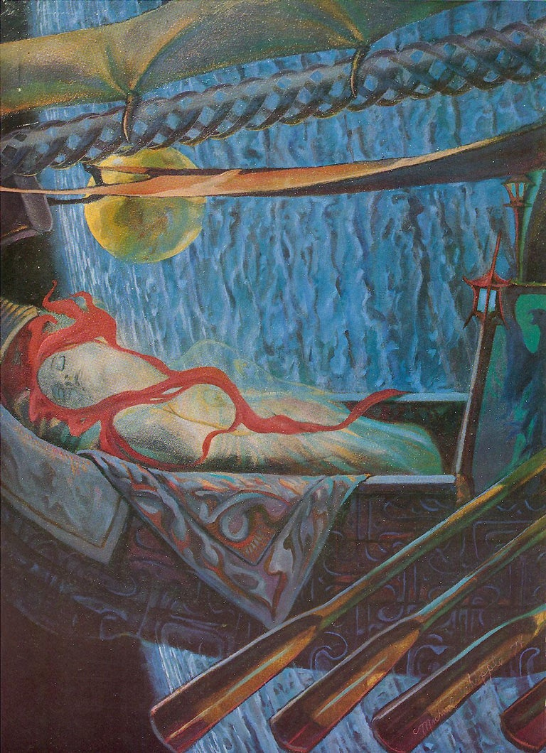 "Sky Jones (Michael Whipple) Figurative Print - ""The Barge"" Limited Edition Hand-Signed Surrealist Lithograph by Michael Whipple"