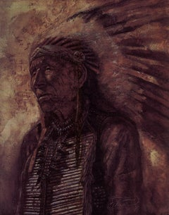 """""""The Old Indian"""" Limited Edition Hand-Signed Realist Litho by Michael Whipple"""