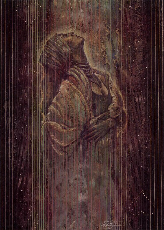 "Sky Jones (Michael Whipple) Portrait Print - ""The Venus Heart Trap"" Limited Hand-Signed Surrealist Litho by Michael Whipple"