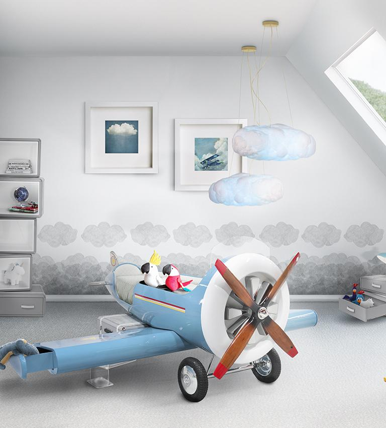 Sky One Plane Bed in Blue and White with Gray Luggage Steps For Sale 9