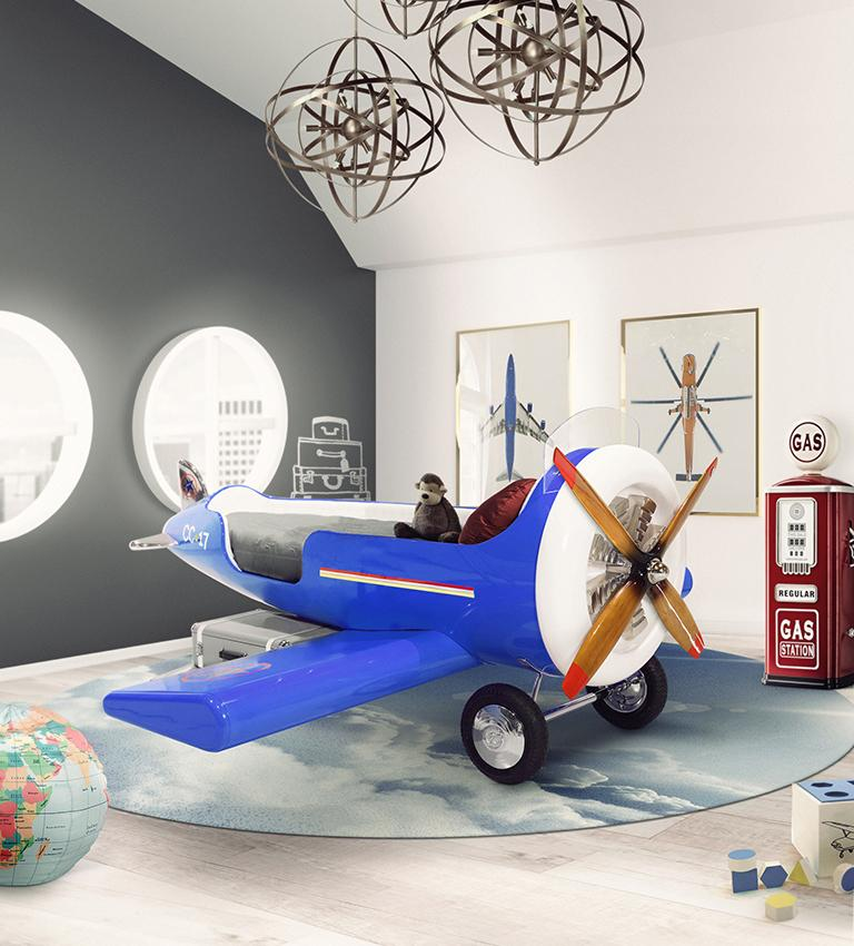 Sky One Plane Bed in Blue and White with Gray Luggage Steps For Sale 10