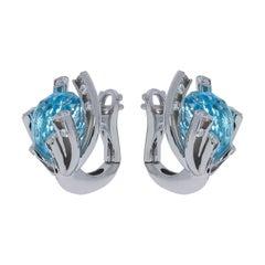 Sky Topaz 11.40 Carat Diamonds 18 Karat White Gold Earrings