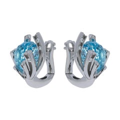 Sky Topaz 11.40 Carat Diamonds 18 Karat White Gold Earrings