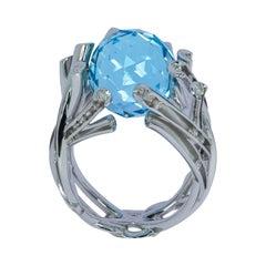 Sky Topaz 19.24 Carat Diamonds 18 Karat White Gold Ring