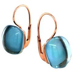 Sky Topaz London on Rose Gold 18 Karat Drop Earrings